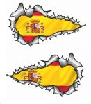 SMALL Long Pair Ripped Metal Design With Spain Spanish Flag Vinyl Car Sticker 73x41mm